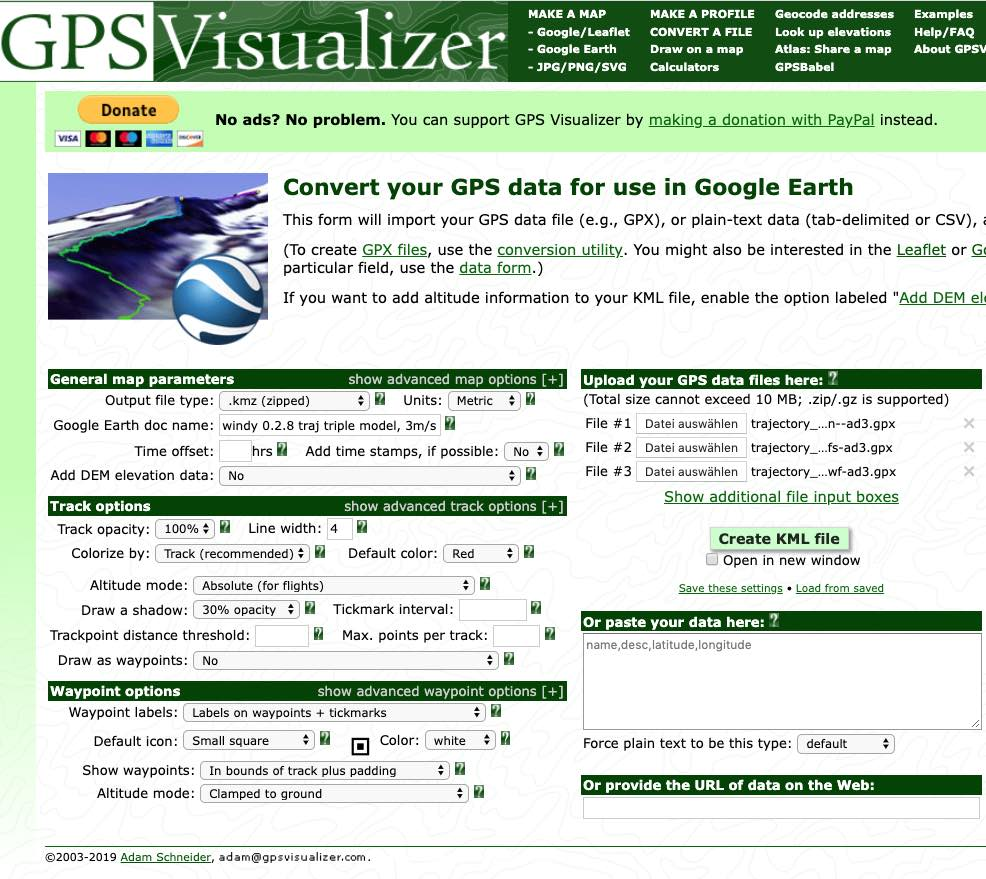 gpsvisualizer parameter settings